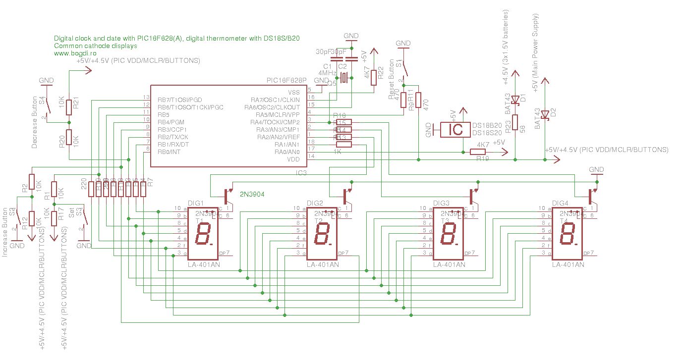 Digital Clock Date Thermometer With Pic16f628 Pic16f84 Pic16f690 And Circuit Diagram What You Need To Build It